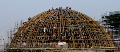 410 Bamboo Structure of the Dome under construction.jpg